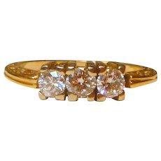Vintage Three Stone Diamond 14K Ring