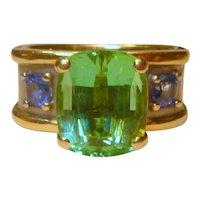 Vintage 18 K Bi-color Mint Green Tourmaline & Sapphire Ring
