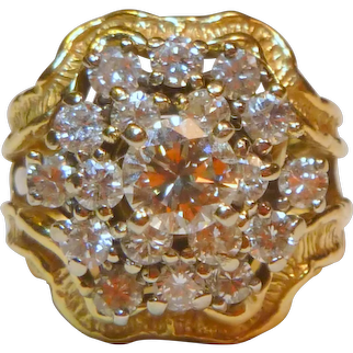 Mid-century Convertible Cocktail 2.60 ct. Diamond 14 K Gold Ring