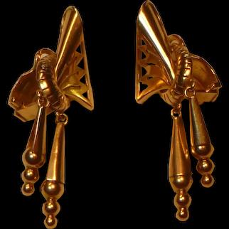 Vintage 18 K  Rose Gold Retro Earrings