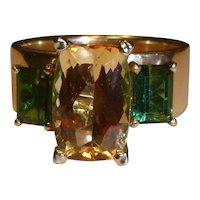 Imperial Topaz and Tourmaline 14 K Gold Ring