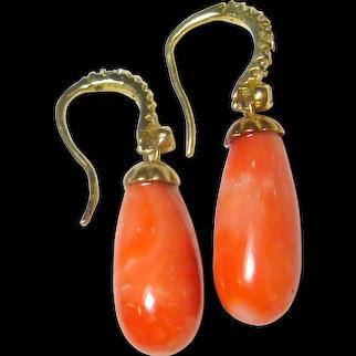 Vintage Coral,  Diamond & 14K Gold Drop Earrings