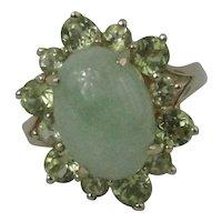 14K Jade Cabochon Peridot Ring Size 8 to 8 1/4