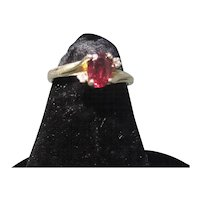 10K Gold Garnet Ring With Diamond Accents Size 5 3/4 to 6