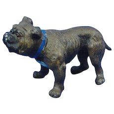 "Cold Painted Hollow Cast Metal Bull Dog 4 3/4"" Long"