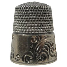 Sterling Silver And 14K Gold Simmons Bros USA Sewing Thimble