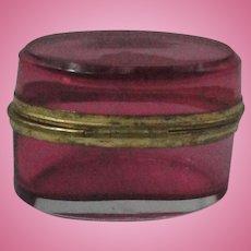 Miniature Antique Cranberry Glass Dresser Box Casket For French Fashion Doll
