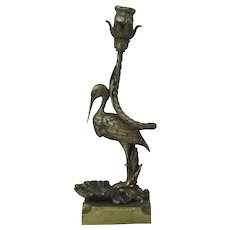 Antique Bronze Stork Candlestick