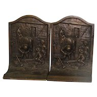 "Vintage Bronze ""The Village Blacksmith"" Bookends"
