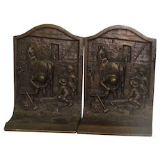 "Vintage Bronze ""The Village Blacksmith"" Bookends"