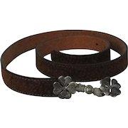 Vintage Argentinian Brown Leather Belt With Silver Buckle By Cardon Cosas Nuestras Uestras Gauchos