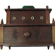 Antique Two Tier Walnut Wood Sewing Box with Drawer