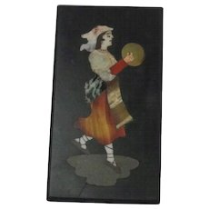 Antique Pietra Dura Plaque Of Dancing Lady