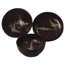 3 Japanese Lacquer Bowls Decorated With Flying Cranes