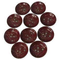 10 Japanese Lacquer Bowls With Cherry Blossom Decoration