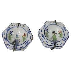 Pair Of Antique Miniature Quimper French Faience Plaques