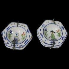 Pair Of Antique Miniature Quimper French Faience Plaques