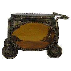 Vintage Ormolu Carriage Jewelry Casket Vitrine Box With Beveled Amber Glass