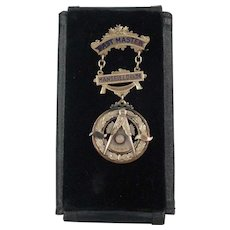 10K Gold Masonic Past Master's Medal Mansfield #36 1942 With Moon Stone W/Face