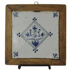 18th Century Blue & White Dutch Delft Tile