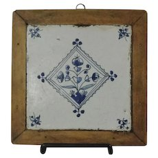 18th Century Blue & White Dutch Delft Tile