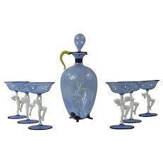 8 Piece Glass Bimini Figural Nude Decanter & Cordial Glasses
