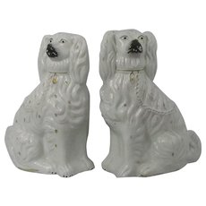 Pair Of Large White Staffordshire Spaniel Dogs 19th Century