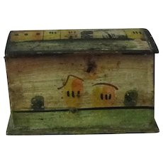 Antique Pennsylvania Miniature Hand Painted Dome Top Blanket Chest Doll Chest