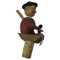 Anri Mechanical Wooden Cork Man Answering Phone