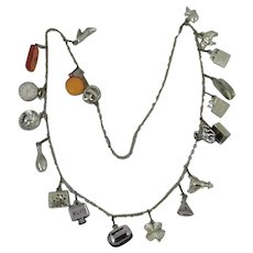 Vintage Charm Necklace With 20 Plastic Charms