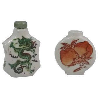 Two Chinese Porcelain Snuff Bottles, 1-Famille Verte With Dragons & 1-Coral Red Dragon