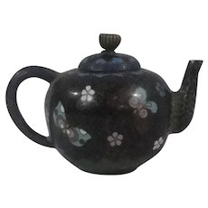 Antique Miniature Cloisonne Tea Pot With Butterfly Pattern