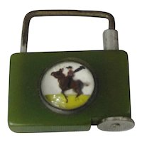 Bakelite Fob With Essex Horse Crystal.