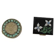 Two Vintage Compacts Lucite And Filigree
