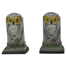 Pair Of Hubley Gray Cast Iron Owl Bookends