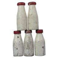 Vintage Carnival Set Knockdown Milk Bottles 4 Wood 1 Cast Iron
