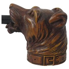 Vintage Pottery Pipe Of Dogs Head