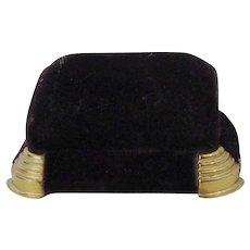 Vintage Maroon Velvet Ring Box With Gold Feet