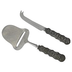 Spar David Anderson Norway Pewter Handle & Stainless Cheese Server and Knife
