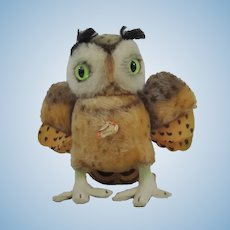 "Steiff Medium Sized ""Witty"" Owl Vintage With Chest Tag"