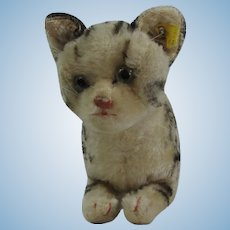 """Steiff """"Tabby"""" Cat With Button Vintage 1950's"""