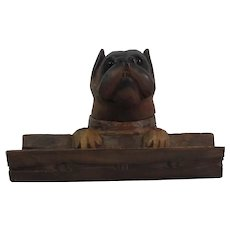Black Forest Wood Inkwell Boxer With Glass Eyes Circa 1900