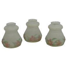3 Vintage Frosted Glass Reverse Painted Shades