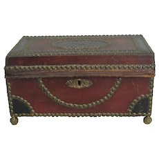 19th Cent Leather Over Wood Brass Studded Document Box