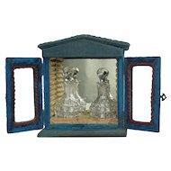 Antique Blue Velvet Perfume Caddy Case
