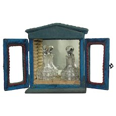 Antique Blue Velvet Perfume Caddy Case