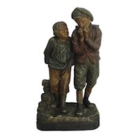 Antique French Poychrome Terracotta Figure Of Two Boys Signed