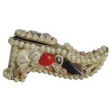 Vintage Souvenir Shoe Shaped Shell Box From Honolulu