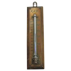 Vintage Unique Copper And Wood Thermometer.