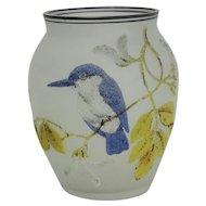 Satin Glass Coralene Vase With Blue Bird